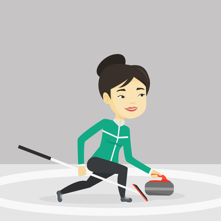 Young asian curling player with stone and broom exercising at rink. Female curling player delivering a stone. Curling player sliding over the ice. Vector flat design illustration. Square layout.