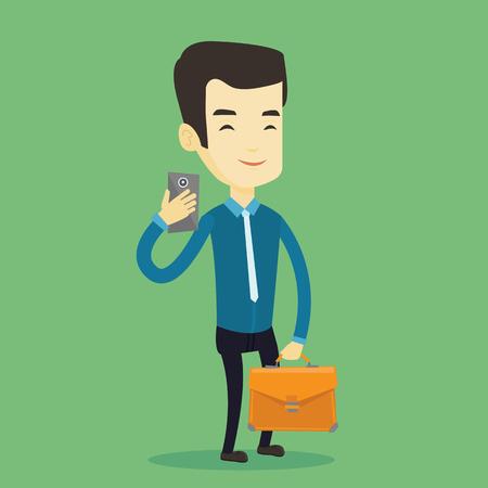 Business man making selfie vector illustration. Illustration