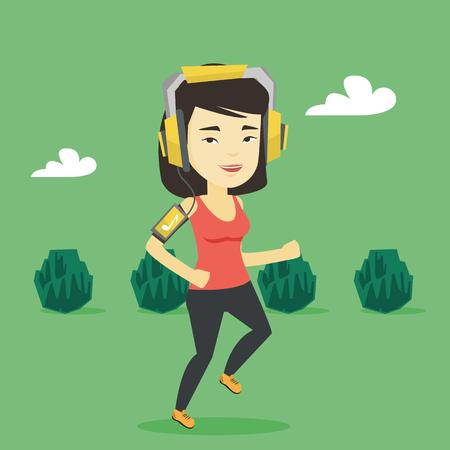 Woman running with earphones and smartphone. Reklamní fotografie - 74576662