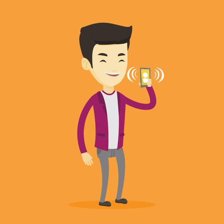 vibrating: Man holding ringing mobile phone. Illustration