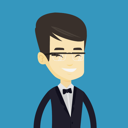 Man wearing smart glass vector illustration.