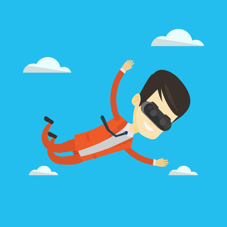 Businessman in vr headset flying in the sky.