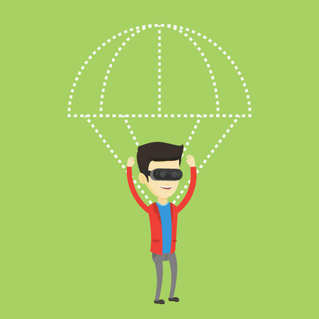 Happy man in vr headset flying with parachute. Ilustração