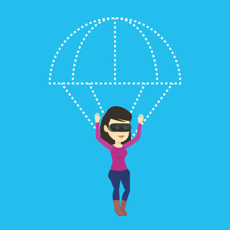 cyber woman: Happy woman in vr headset flying with parachute.
