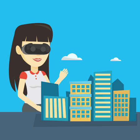 cyber woman: Happy young woman wearing virtual reality headset. Illustration
