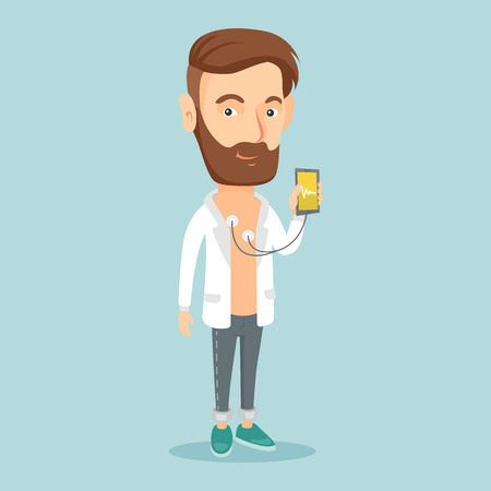 Man measuring heart rate pulse with smartphone.