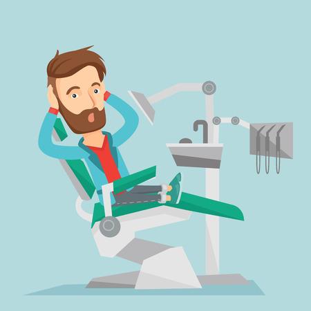 Scared patient in dental chair vector illustration Illustration