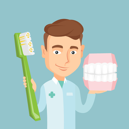 orthodontist: Dentist with dental jaw model and toothbrush. Illustration
