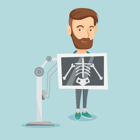 radiogram: Young caucasian man during chest x ray procedure. Smiling man with x ray screen showing his skeleton. Hipster male patient visiting roentgenologist. Vector flat design illustration. Square layout.