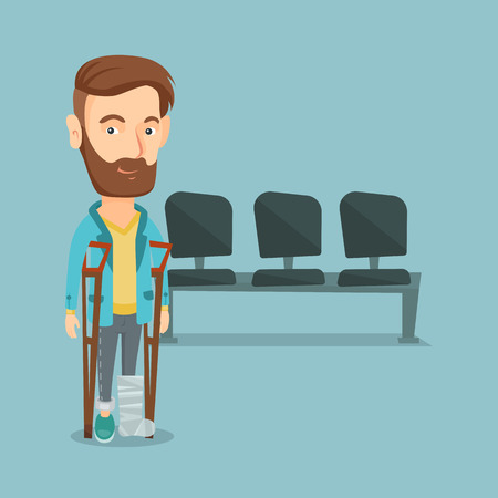 An injured caucasian man with leg in plaster. Young hipster man with broken leg using crutches. Smiling man with fractured leg. Vector flat design illustration. Square layout.