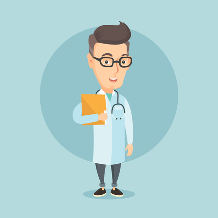 Caucasian doctor with stethoscope and folder. Adult doctor in medical gown carrying folder of patient. Doctor holding folder with medical information. Vector flat design illustration. Square layout. 向量圖像
