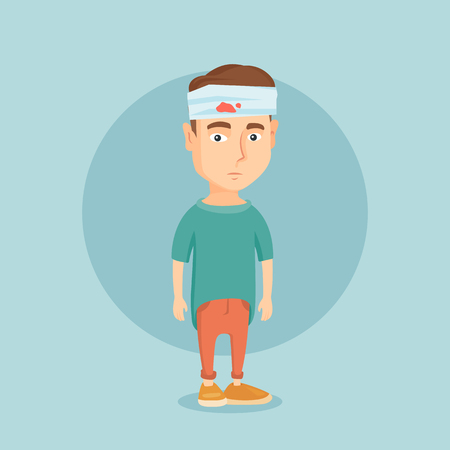 彼の頭を包帯で白人男性を混乱させます。Sad には、頭の包帯男が負傷しました。頭で負傷した若い男性の完全な長さ。ベクトル フラットなデザイン