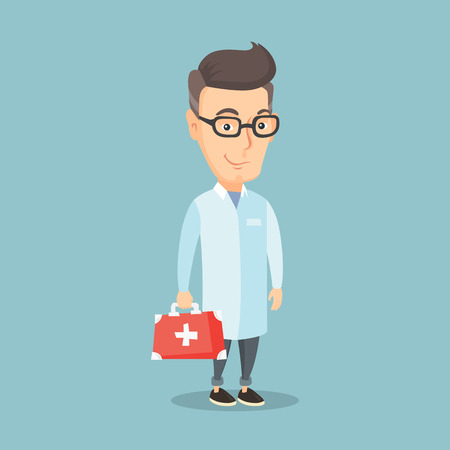 Caucasian doctor in medical gown holding first aid box. Friendly doctor in uniform standing with first aid kit. An adult doctor carrying first aid box. Vector flat design illustration. Square layout. Vettoriali