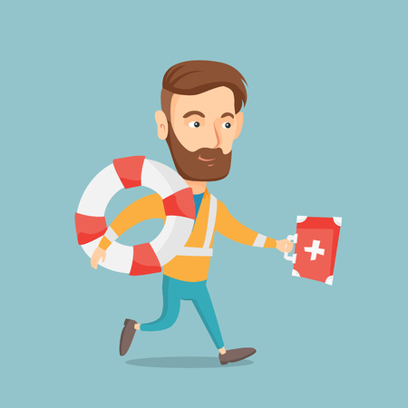 Young caucasian paramedic running to patients. Hipster paramedic running with first aid box. Emergency doctor running with first aid box and lifebuoy. Vector flat design illustration. Square layout.