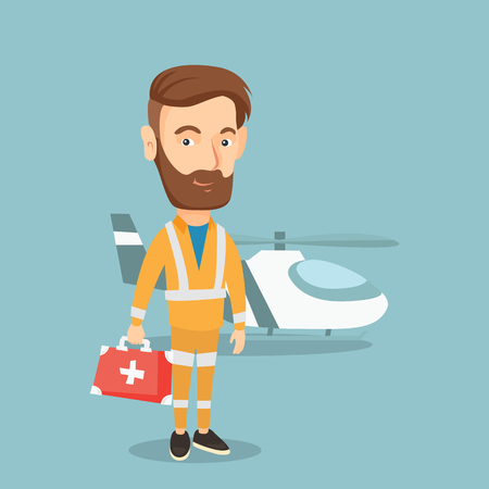 Caucasian hipster doctor of air ambulance. Doctor of air ambulance standing in front of rescue helicopter. Doctor of air ambulance with first aid box. Vector flat design illustration. Square layout. Illustration