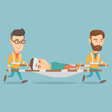 Caucasian emergency doctors transporting victim after accident on the stretcher. Team of emergency doctors carrying injured man on medical stretcher. Vector flat design illustration. Square layout.