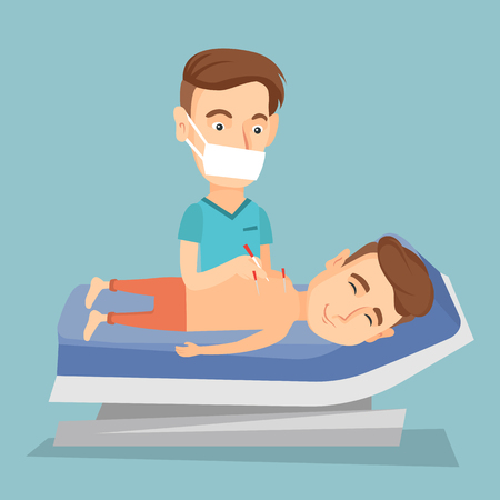 Young caucasian man getting acupuncture treatment in a spa center. Acupuncturist doctor performing acupuncture therapy on back of a customer in salon. Vector flat design illustration. Square layout. Vectores
