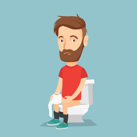 Caucasian man sitting on toilet bowl and suffering from diarrhea. Man holding toilet paper roll and suffering from diarrhea. Man sick with diarrhea. Vector flat design illustration. Square layout.
