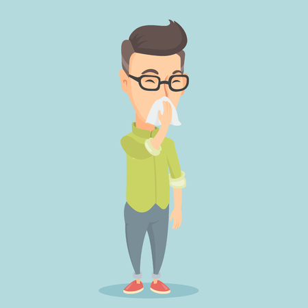 An adult caucasian man blowing his nose to paper napkin. Sick man sneezing. Unwell man having an allergy and blowing his nose to a tissue. Vector flat design illustration. Square layout.