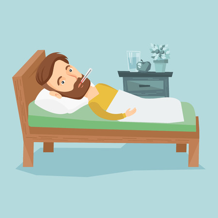 lying in bed: Caucasian sick man with fever laying in bed. Sick hipster man measuring temperature with thermometer in mouth. Sick man suffering from cold or flu virus. Vector flat design illustration. Square layout