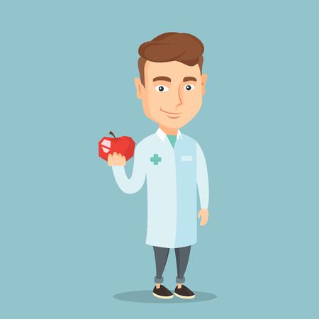 Giovane dieta nutrizionista prescrizione caucasica e mangiare sano. Sorridente nutrizionista fiducioso che tiene una mela. offerta Nutrizionista mela rossa fresca. Vector design piatto illustrazione. pianta quadrata