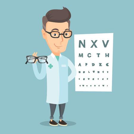 Caucasian ophthalmologist doctor giving glasses. Ophthalmologist holding eyeglasses on the background of eye chart. Ophthalmologist offering glasses. Vector flat design illustration. Square layout. Illustration