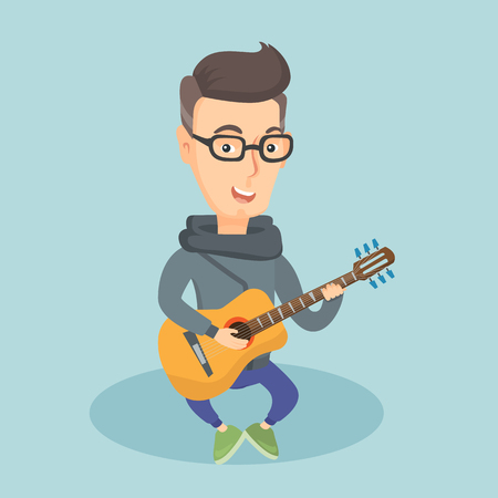 media player: Caucasian musician playing an acoustic guitar. Friendly musician sitting with guitar in hands. Adult happy guitarist practicing in playing guitar. Vector flat design illustration. Square layout.