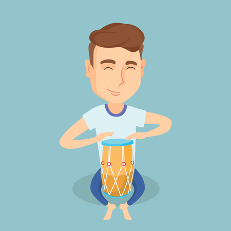 eyes are closed: Caucasian mucisian playing ethnic drum. Young man with eyes closed playing ethnic drum. Man playing ethnic music on tom-tom. Vector flat design illustration. Square layout.