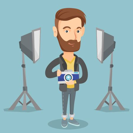Caucasian male photographer holding a camera in photo studio. Photographer using professional camera in the studio. Young photographer taking a photo. Vector flat design illustration. Square layout. Stok Fotoğraf - 74617477