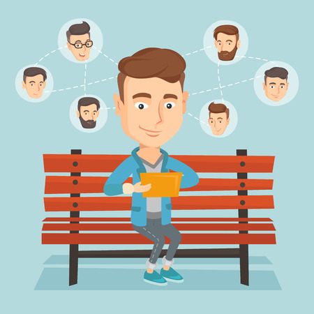 Caucasian man sitting on a bench and using a tablet computer with network avatar icons above. Man surfing in the social network. Social network concept. Vector flat design illustration. Square layout.
