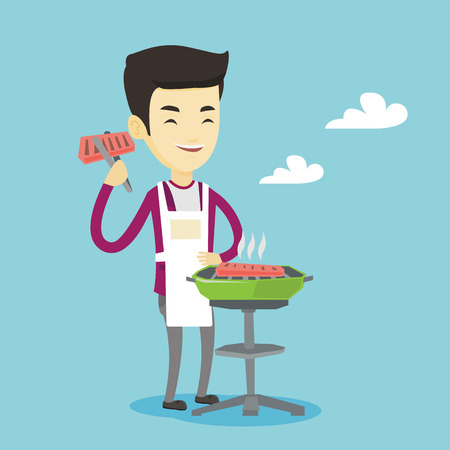 Asian cheerful man cooking steak on the barbecue grill outdoor. Smiling man preparing steak on the barbecue grill. Happy man having outdoor barbecue. Vector flat design illustration. Square layout. Illustration