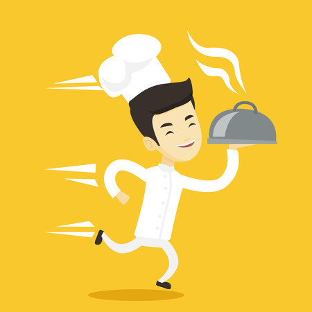 Asian happy male chef cook in a cap and white uniform running. Cheerful chef cook holding a cloche. Smiling chef cook fast running with a cloche. Vector flat design illustration. Square layout. Illustration