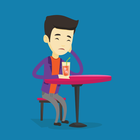 Upset asian man sitting in bar and drinking cocktail. Young sad man sitting alone in bar with cocktail on the table. Man drinking cocktail in bar. Vector flat design illustration. Square layout. Illustration