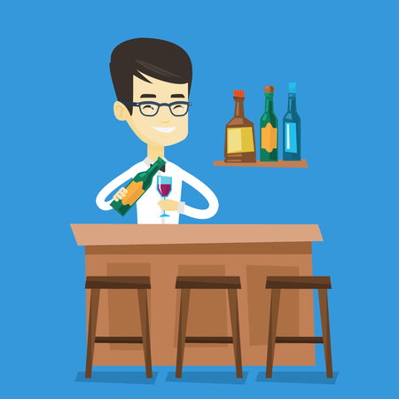 Asian bartender at work. Adult bartender standing at the bar counter. Bartender with bottle and glass in hands. Bartender pouring wine in a glass. Vector flat design illustration. Square layout. Ilustrace