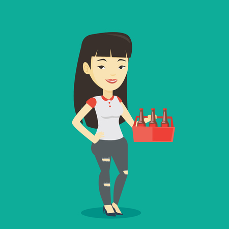 Asian smiling woman buying beer. Happy woman holding pack of beer. Full length of cheerful woman carrying a six pack of beer. Vector flat design illustration. Square layout. Illustration