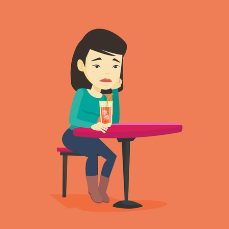 upset woman: Upset asian woman sitting in bar and drinking cocktail. Young sad woman sitting alone in bar with cocktail on the table. Woman drinking cocktail in bar. Vector flat design illustration. Square layout.