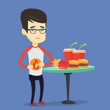 gastritis: Asian sad man having stomach ache from heartburn. Young man suffering from heartburn. Upset man having stomach ache after fast food. Vector flat design illustration. Square layout.