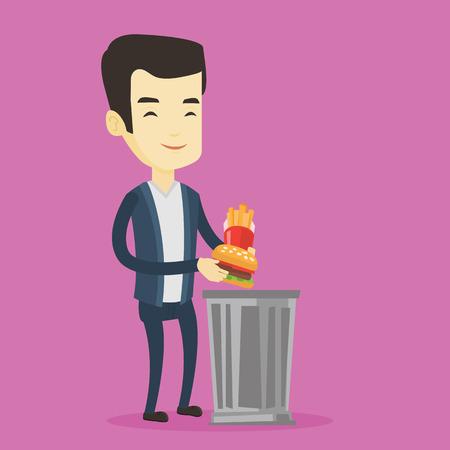 Asian man putting junk food into a trash bin. Adult man refusing to eat junk food. Man rejecting junk food. Man throwing junk food. Diet concept. Vector flat design illustration. Square layout.