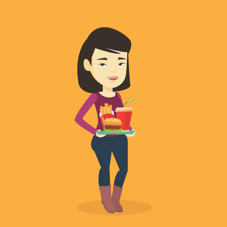Asian woman holding tray with fast food. Young woman having a lunch in a fast food restaurant. Happy woman with fast food. Unhealthy nutrition concept. Vector flat design illustration. Square layout.