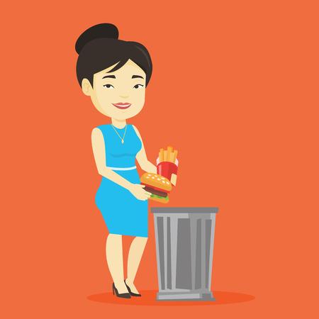 Asian woman putting junk food into a trash bin. Adult woman refusing to eat junk food. Woman rejecting junk food. Woman throwing junk food. Diet concept. Vector flat design illustration. Square layout Illustration