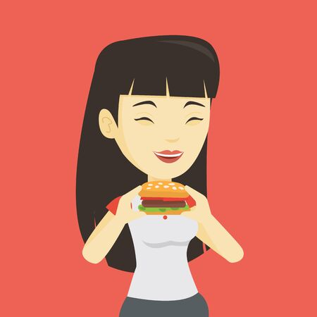 Asian joyful woman eating hamburger. Happy woman with closed eyes biting hamburger. Young smiling woman is about to eat delicious hamburger. Vector flat design illustration. Square layout. Illustration