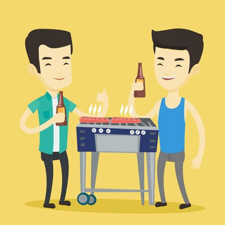 prepare: Smiling asian male friends having a barbecue party. Friends preparing barbecue and drinking beer. Group of friends having fun at a barbecue party. Vector flat design illustration. Square layout. Illustration