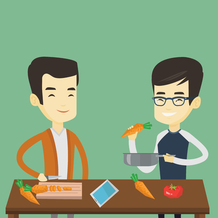pareja comiendo: Asian happy men cooking healthy vegetable meal. Friends having fun cooking together healthy meal. Young smiling friends preparing vegetable meal. Vector flat design illustration. Square layout.