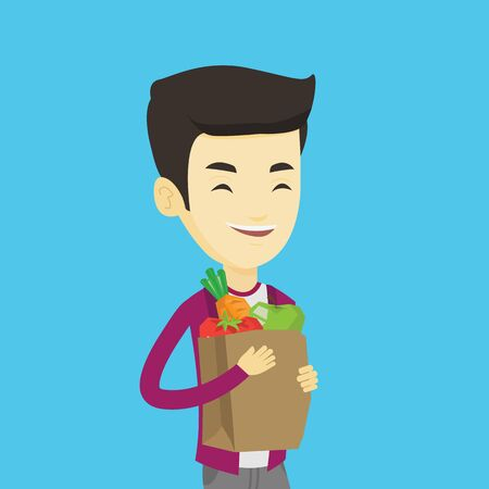Young asian man carrying grocery shopping bag with vegetables. Man holding grocery shopping bag with healthy food. Man with grocery shopping bag. Vector flat design illustration. Square layout. Illustration