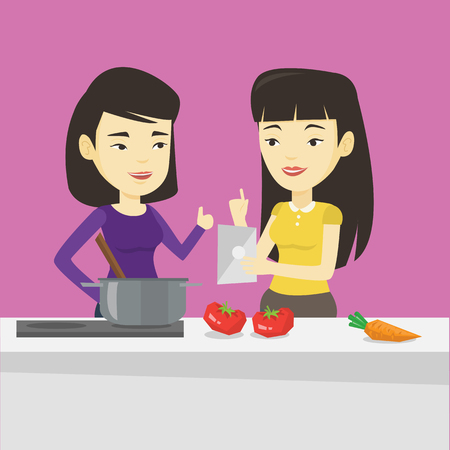 pareja comiendo: Young asian women following recipe for healthy vegetable meal on digital tablet. Friends cooking healthy meal. Friends having fun cooking together. Vector flat design illustration. Square layout.