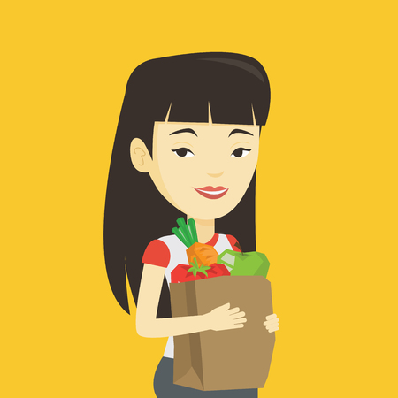 Young asian woman carrying grocery shopping bag with vegetables. Woman holding grocery shopping bag with healthy food. Woman with grocery shopping bag. Vector flat design illustration. Square layout. Illustration