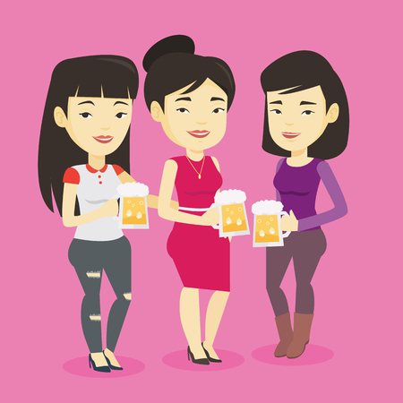 Asian friends clanging glasses of beer. Women toasting and clinking glasses of beer. Group of friends enjoying a beer at pub. Women drinking beer. Vector flat design illustration. Square layout. Çizim