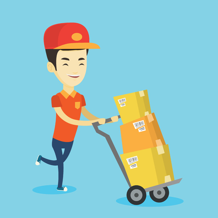 Asian delivery postman with cardboard boxes on trolley. Delivery postman pushing trolley with cardboard boxes. Delivery postman delivering parcels. Vector flat design illustration. Square layout. Illustration