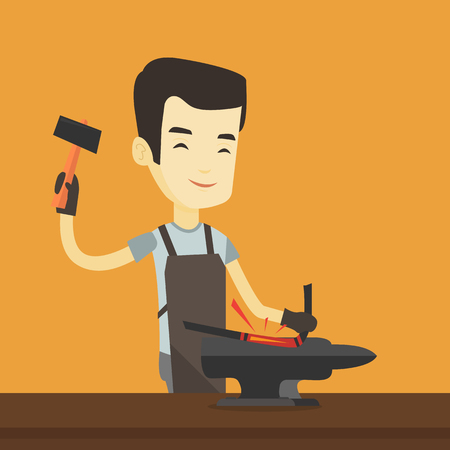 anvil: Asian blacksmith working metal with hammer on the anvil in the forge. Blacksmith at work in smithy. Blacksmith forging the molten metal on anvil. Vector flat design illustration. Square layout.