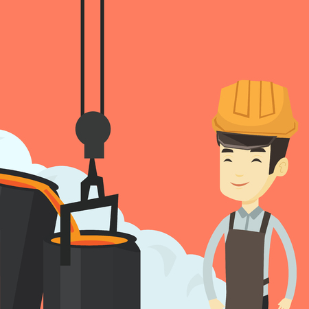 Asian steelworker in a hardhat at work in the foundry. Steelworker controlling iron smelting in the foundry. Industrial worker in steel making plant. Vector flat design illustration. Square layout.